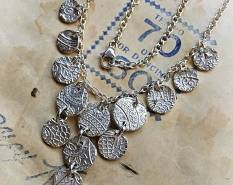Silver disk charm necklace