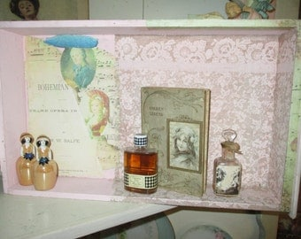 Vintage Drawer Collage Display Shelf OOAK Photo Backdrop Jewelry Lace Romantic Home Decor