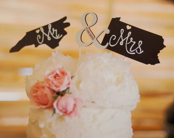 State Cake Topper, Wedding Cake Toppers, Chalkboard Cake Toppers, Cake Toppers for Weddings, Cake Topper for Weddings, Wedding Cake Topper