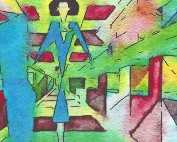 "Flight attendant, planes, air travel, Print of original watercolor, ""The Mile-High Cubist"""