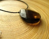 "SALE Simple modern smoky quartz necklace with faceted briolette pendant and jet black glass beads 18"" ready to ship"