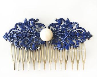 Navy Blue Pearl Hair Comb Dark Blue Wedding Bridal Comb Bridesmaid Hair Slide Gift Pearl Hair Pin Cobalt Blue Hair Accessories