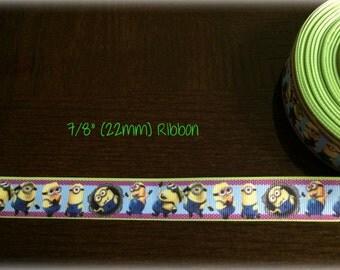 Minions 7/8 inch Grosgrain ribbon
