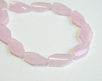 Soft Light Pink milky glass twisted diamond opalescent beads 15x9mm 511040