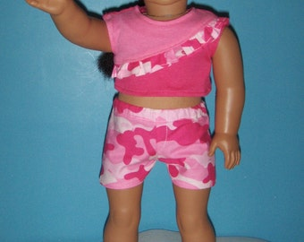 Camouflage Pink Shorts with MatchingTop with RuffleAmerican Girl , and other 18 inch dolls