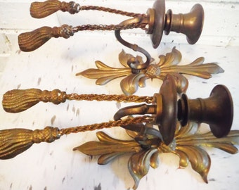 Vintage French sconces shabby brass rope and tassel fleur de lis acanthus regency