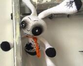 Spooky Gothic freak Zombie evil creepy dead horror monster bunny rabbit doll art handmade animal alternative crochet OOAK yarn unique cute