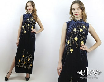 Velvet Cheongsam Velvet Dress Beaded Dress Sequin Dress Vintage Cheongsam Vintage 90s Blue Velvet Maxi Dress M Velvet Party Dress 90s Dress