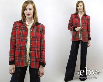 Red Plaid Blazer Plaid Jacket Wool Blazer Fitted Blazer Military Blazer Oversized Blazer Vintage 90s Red Plaid Military Blazer S M