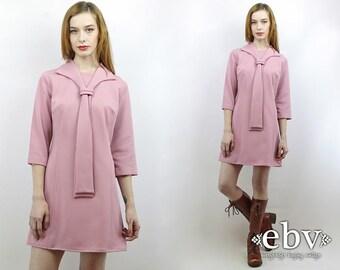 Ascot Dress Pink Dress 70s Mini Dress Day Dress Dusty Rose Dress Vintage 70s Ascot Bow Tie Mini Dress M L Ascot Tie Dress Pussy Bow Dress