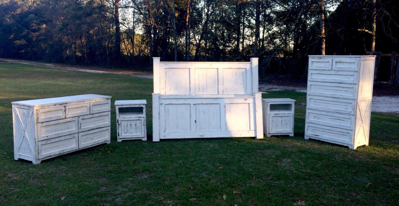 Reclaimed wood bedroom set bed bedside tables dresser chest