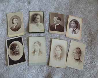 Photos Vintage Carte de Viste Lot of 8 Women Some Identified