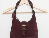 Suede COACH purse, Purple Wine Leather Hobo Shoulder Bag, Brass Buckle Hardware, Authentic with Tassle, Logo