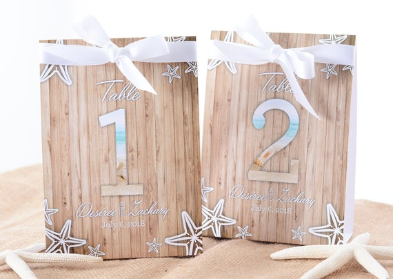 Beach Wedding Table Number Tent Cards Beach Wedding Table - Wedding table tents