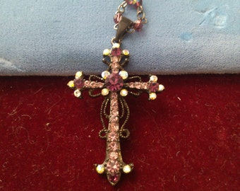 Purple and Arorua Rhinetone Cross