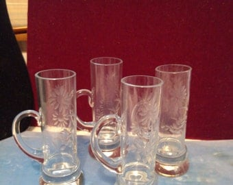 4 Luis Mirian Hand Etched and Signed After Dinner Small Tall Mugs