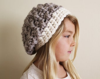 Crochet Pattern: The Hadlee Beret -Toddler, Child, & Adult Sizes- slouchy, beanie, chunky