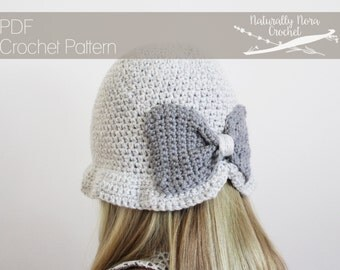 Crochet Pattern: The Evelyn Cloché -Toddler, Child, &  Adult Sizes-bow, twenties style hat, tweed