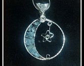 Aquamarine Moon Pendant, Crescent Moon in Silver, with Woven Bail and Star, March birthstone