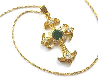 18K Yellow Gold Plated Fleur di Lis Simulated Emerald & Diamond Cross, Gold Cross with Gold Filled Neck Chain, Art Deco Vintage Jewelry