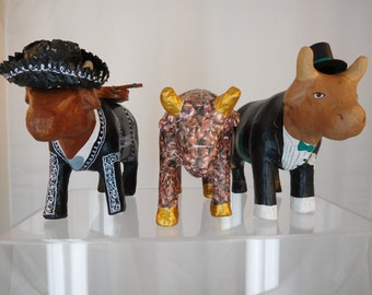 "Vintage 90's Paper Mache COWS Lot 3 Hand made and Painted One of a Kind Herd -Whimsical 7"" tall"