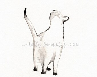 I look to You , watercolor printable, INSTANT download,  siamese cat, Cat art,  Minimal black and white