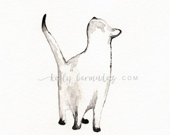 Wall Art, Cat painting, Cat Watercolor, I look to You, siamese cat, Cat art,  Minimal black and white