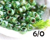 Picasso TOHO Seed beads, size 6/0,  Transparent Peridot, Y318, green seed beads, hybrid, rocailles - 6g - S755