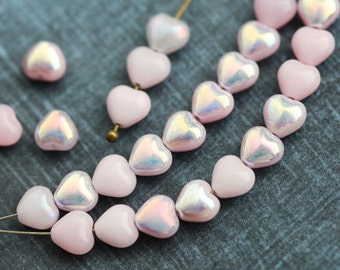 30pc Pink Hearts beads, AB finish, Czech Glass pressed pink beads, luster - 6mm - 0150