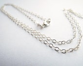 Delicate Finished Oval Flat Links Sterling Silver Chain 1.5 x 2 mm - Made to Order