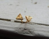 Tiny Triangle Cube Rocks Studs -  Gold Plated Sterling Silver Solid Gold 10k 14k Earrings - Unisex