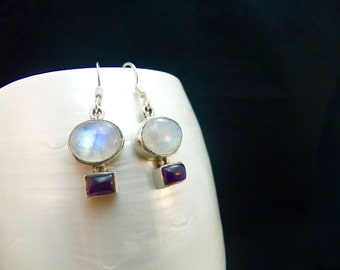 Amethyst and Moonstone Silver Drop Earrings