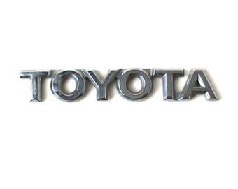 Chrome TOYOTA Emblem, car nameplate, custom car, automobile