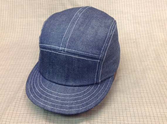 Denim 5 panel cap with short 19th century visor, adjustable or fitted available