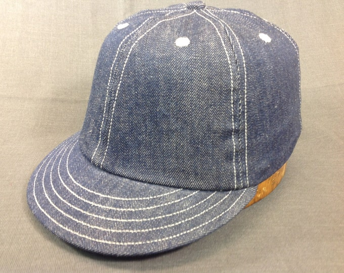"Cotton Denim custom made 6 panel with 2"" visor, white top-stitching, leather sweatband fitted to any size"