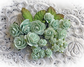 Reneabouquets Mini Roses And Leaves Flower Set-Mulberry Paper Flowers  - Dusty Teal  Set Of 24 Pieces In Organza  Bag