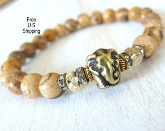 Elephant bracelet, Citrine, Picture Jasper, elephant mala, Yoga bracelet, Energy bracelet, Healing bracelet, Reiki Charged, Yoga jewelry