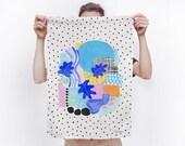 Babylon Abstract Ocean Cotton Linen Tea Towel - for use in the kitchen or hang as an art piece!