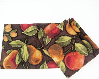 4 Vintage Placemat Set, Woven Apples Pears Leaves, Vivid Colors, Lined