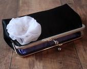 Bridal Clutch - Bridesmaid Clutch - Clasp Clutch Purse - Black Satin Clutch - Custom Clutch Purses