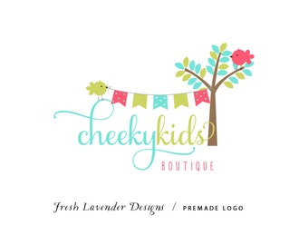 Custom Logo Designer Premade Logo Design and Watermark for Photographers and Small Businesses Hand Drawn Tree with Birds & Bunting Whimsical