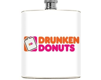 Mens Flask Drunkin Donuts Adult Humor Drinking Gifts Womens College Dunkin Spoof Fraternity Sorority Funny Pocket Accessory Birthday Party
