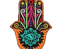 Rainbow Hamsa Hand Iron On Patch Embroidery Sewing DIY Customise Denim Cotton Cute Multicoloured Hippy '70s Fatima Hindu Boho Gypsy Festival