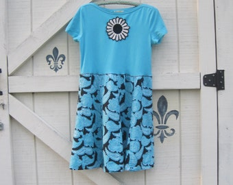 Boho dress, turquoise black dress, hippie chic dress, M bohemian dress,