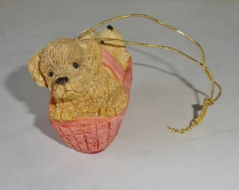 Dog Christmas Ornament Vintage Puppies in a Basket Resin Ornament Itty Bitty Christmas United Design Corp UDC 1986