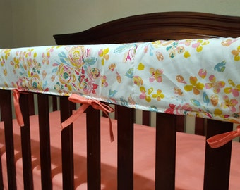 Baby Crib Rail Guard Cover - Floral, Roses, Shabby Chic