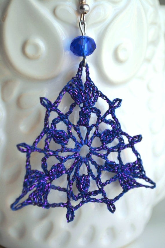 Vintage openwork crochet earrings decorated with deep blue Swarovski crystal, lace earrings, violet, blue earrings