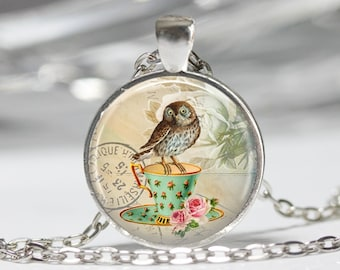 Owl Jewelry Owl Necklace Owl Glass Pendant Owl Necklace Owl on Teacup Gift for Her