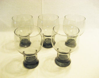 6 Translucent Smokey Beer, Bar Glasses Vintage 1970s