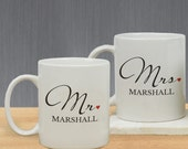 Mr and Mrs Personalized Mug Set, Mr & Mrs Coffee Mug Set Couples Newlyweds Wedding Valentine's Day Gift